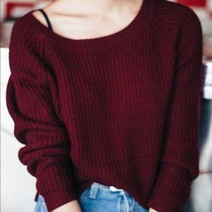Francesca's Dark Red Cropped Sweater